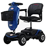 Metro Mobility Electric Mobility Scooter with 9 Inch Big Pneumatic Tires - Foldable Tiller with Cup Holders & USB Charging Port - Compact for Travel - 4 Wheel Mobile for Adults/Seniors(Plus Blue)