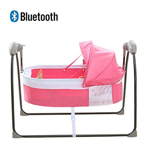 Outdoor Indoor Infant Baby Swings, Toddler Baby Seat Electric Rocking Chair Cradle with 3-Speed Swing and A Mosquito Net, Newborn Baby Sleep Rocking Bed, Dual Use Mode, Easy Folding (Color : Pink)