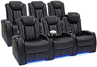 Seatcraft Delta Home Theater Seating Leather Power Recline, Powered Headrests, and Built-in SoundShaker (Black, Two Rows of 3)