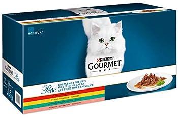 Gourmet Purina Filet au Poulet, b?uf, Saumon et Lapin, Nourriture pour Chats de Haute qualité (sachets Portion 60x 85g)