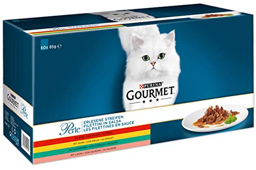 GOURMET Perle - Les Filettines en Sauce Poulet, Boeuf, Lapin, Saumon - 60 x 85 g - Sachets Fraîcheur pour Chat Adulte