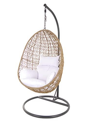 Kideo Set completo: poltrona sospesa con struttura e cuscino, in rattan sintetico, lounge, noce di noce, Nature (cuscino: bianco nido (1000 Snow)