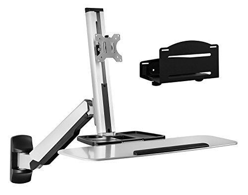 Mount-It! Sit Stand Wall Mount Workstation & Stand Up Computer Station with Articulating Monitor Mount, Keyboard Tray Arm and CPU Holder, Silver VESA 75 100
