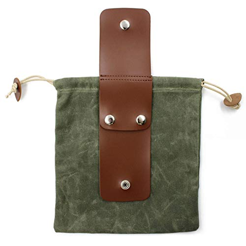 QKFON Bushcraft Waist Bag, PU Leather Canvas Belt Pouch with Cover & Buckle Drawstring Foldable Heavy Duty Tool Pouch Vintage Collapsable Foraging Bag for Outdoor Camping