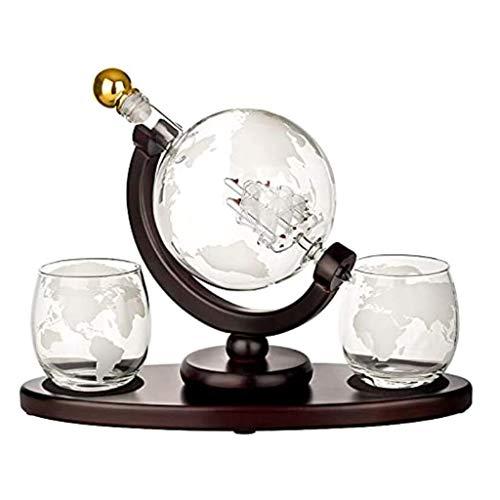 WE-WHLL Decantador de Licor de Barco de Vela con Mapa del Mundo único 2 Vasos de Whisky Grabados, Juego de Regalo Grabado para Navidad