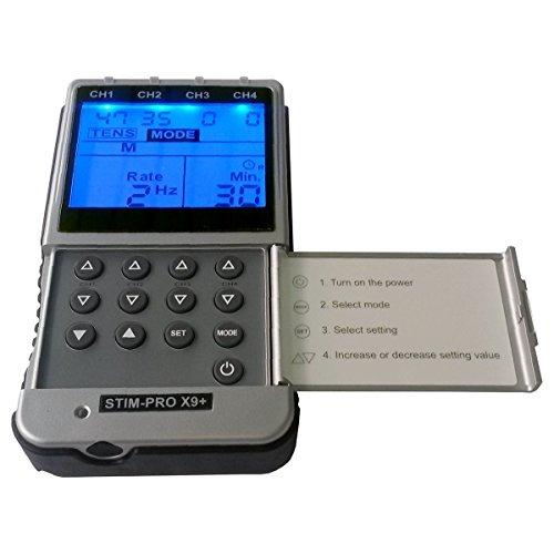 TENS EMS Kombi-Gerät - TENS-Gerät und EMS-Trainingsgerät in Einem - Professionelles 4-Kanal Reizstromgerät STIM-PRO X9+