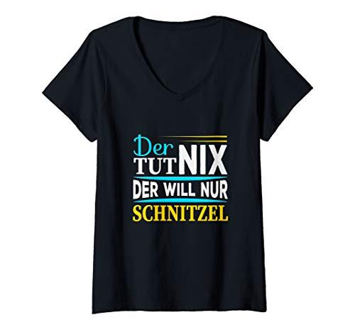 Damen Der tut nix der will nur Schnitzel I Lustiger Spruch Männer T-Shirt mit V-Ausschnitt