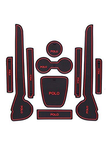 GPPSUN Auto zubehör Türschlitz Matte KADIO Kompatibel mit Vo-Lkswagen VW Polo 6R 6C 2010-2017 MK5, rutschfest Mittelkonsolenschutz Liner für Die Mittelkonsole, Gummimatten Matten,Rot