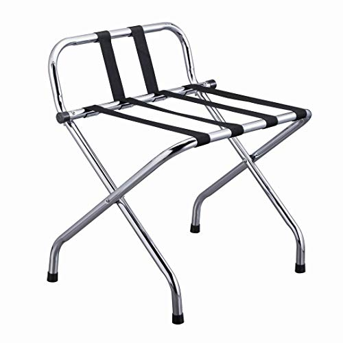 VINN DUNN Folding Luggage Rack Suitcase Stand with Back ,nylon webbing strap,Chrome Stainless Steel