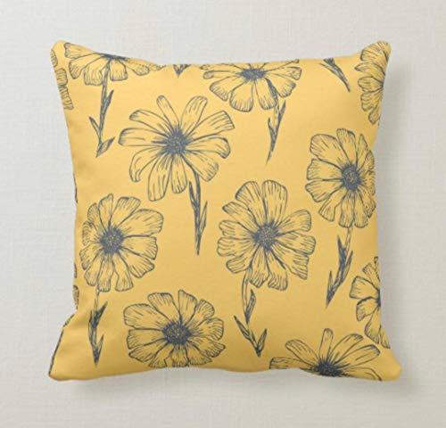 DKISEE Funda de almohada decorativa de 66 x 66 cm, cuadrada, con margaritas, color mostaza,...