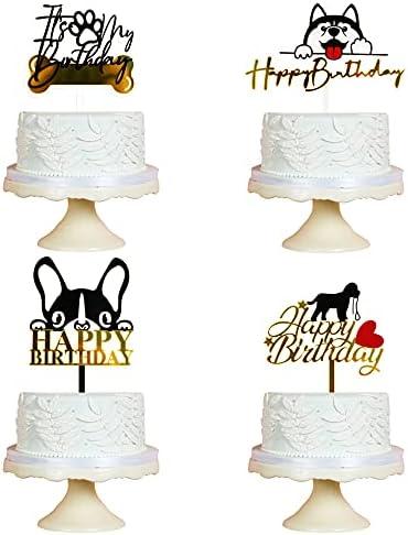 Sodasos 4-Pack Acrylic Happy Birthday San Diego Mall Topper Dog Albuquerque Mall Cake 7 Birthda