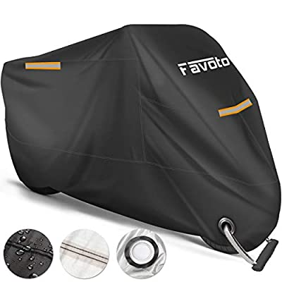 Favoto Motorcycle Cover, Universal Fits up to 108 inches Motorcycles, with 3 Night Reflectors Lock-Hole Carrying Bag, Windproof Waterproof Dustproof Durable Sun Outdoor Protection