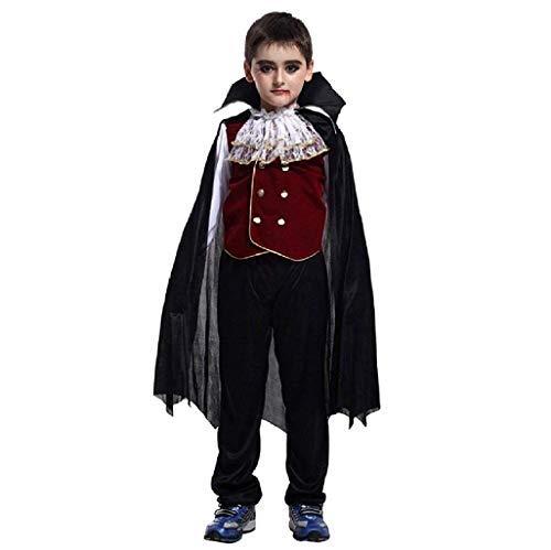 Vestito di Carnevale da Conte Dracula co camicia-giacchino-pantalone e mantello Costume da Vampiro Idea Travestimento Halloween Bambino Taglia XL 8-9 anni Cosplay Feste in Maschera Carri a Tema
