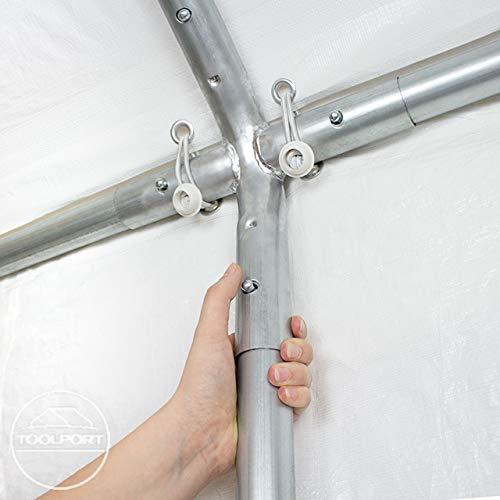 TOOLPORT Partyzelt Pavillon 4x8 m in weiß 180 g/m² PE Plane Wasserdicht UV Schutz Festzelt Gartenzelt - 7