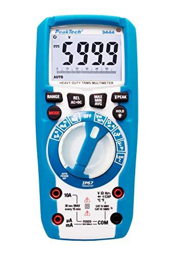 PeakTech 3444 – True RMS Digital Multimeter, Wasserdicht (IP67), 6000 Counts, Extrem Robustes Gehäuse, Handmultimeter, LED-Lampe, Spannungsmesser, Durchgangsprüfer, Messgerät, Strom - CAT III 1000 V
