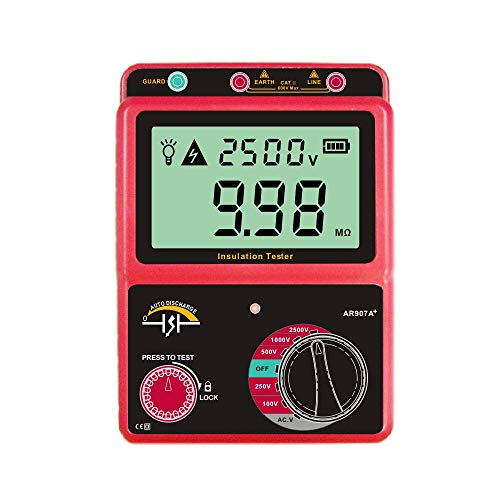 Electronic Multimeter, Insulation Resistance Tester, Digital Megohmmeter, 100-2500V AC/DC Voltage Insulation Tester, Ohm Meter for Laboratory, Factory and Home(Battery NOT Included)