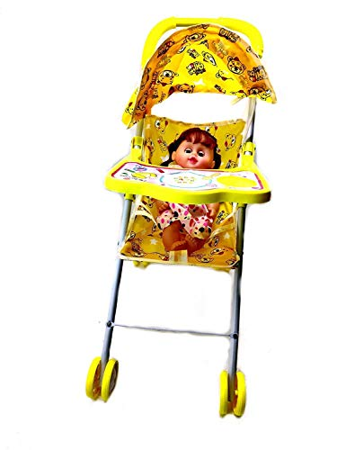 Amaxone Fully Assembled Pretend Play Carrier Stroller Toy with Baby Doll for Kids Baby Doll Stroller Foldable Baby pram for Baby Age 3 Years & Above.