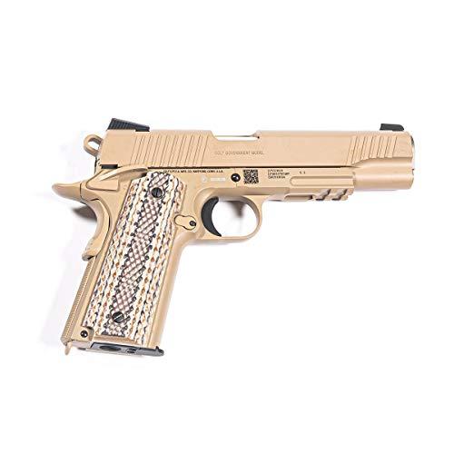 Cybergun Pistola Softair Colt 1911 Full Metal - Scarrellante - Semiautomatica - Colpo Singolo - Colore Tan - Replica Smontabile Come l'Originale - Potenza < 1 Joule - Dimensioni 23 cm