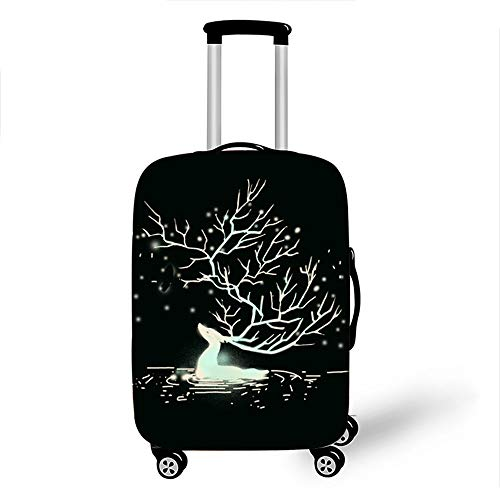 Elastic Luggage Cover, CNNINHAO 3D Print Trolley Case Protective Travel Suitcase Anti Scratch Dustproof Resistant Case Trolley Skin Protector Elasticized Washable (Deer 3,XL (30-32inch))