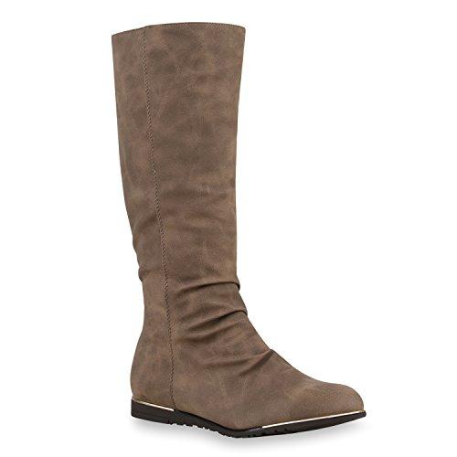 Stiefelparadies Warm Gefütterte Damen Stiefel Flache Winterstiefel Boots 125923 Khaki 36 Flandell