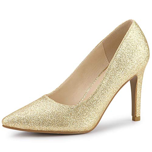 Allegra K Damen Pointed Toe Stiletto Glitzer High Heels Pumps Gold 38 EU