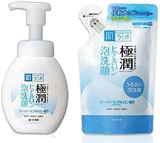 Rohto Gokujun Hyaluronic Acid Cleansing Foam, Parallel Import Product, Bottle 160ml & Refill 140ml Set(Japan Import)