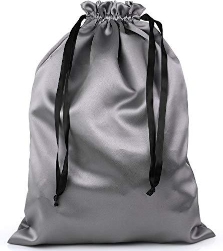 BlesMaller Bolsa para zapatos con cordón, bolsa de almacenamiento, bolsa de almacenamiento de seda para bolso, cartera, libros de bolsillo, zapatos, botas, color plateado (32 x 40 cm)