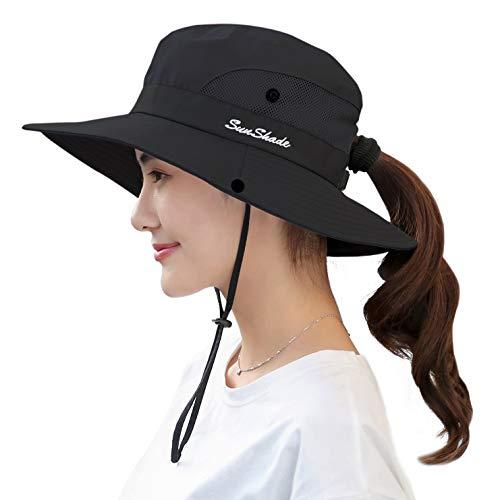 Women's Sun Hat Outdoor UV Protection Foldable Mesh Bucket Hat Wide Brim Summer Beach Fishing Cap Pure Black