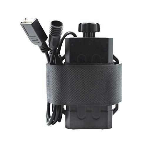 WASAGA 18650 Caja de batería, Banco de energía al Aire Libre Impermeable de 5V USB 8.4V DC Ciclismo, Pesca, Camping, Escalada Respaldo de energía (Negro 8.4 V 4 Piezas Batería)