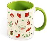 Taza de café de cerámica divertida - Feliz día de acción de gracias con ilustración de saludo de calabaza para hombres / mujeres / cumpleaños / vasos de Navidad tazas-verde-patrón3