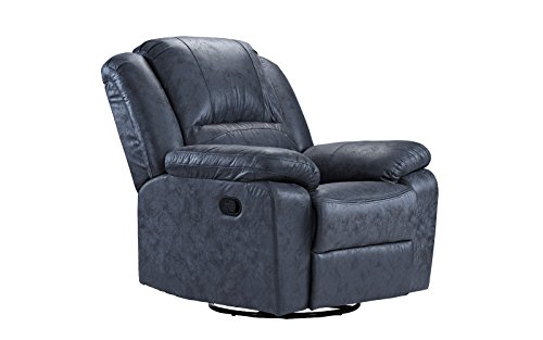 Casa Andrea Oversize Ultra Comfortable Air Leather Fabric Rocker and Swivel Recliner Living Room Chair (Grey)
