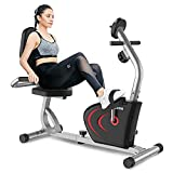 pooboo Recumbent Exercise Bike, Magnetic Recumbent Stationary Bike for Home Cardio Workout, Indoor Cycling Fitness Equipment with Adjustable Seat, Transport Wheels, Digital Monitor & Phone Holder for Seniors Adults, 300 lbs Capacity
