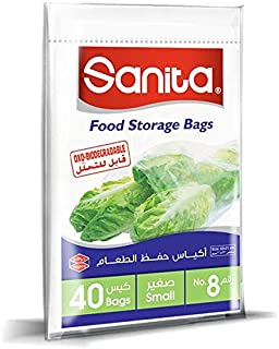 Sanita Food Storage Bags 8, 40 Bags, Oxo Biodegradable, Clear