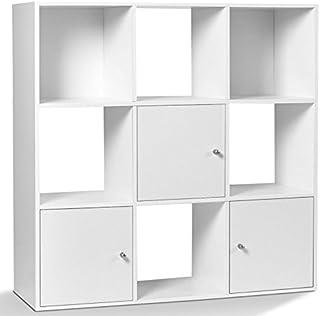 IDMarket - Meuble de Rangement Cube Rudy 9 Cases Bois Blanc avec 3 Portes