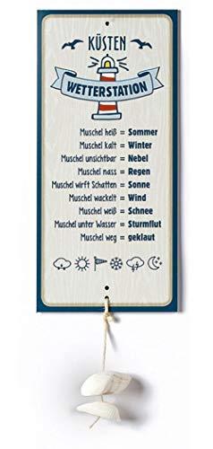 G.H. Wetterstein, Wetterstation als Aluschild, Modell Küste mit Muschel, Material Metall, Maße Schild 30 x 14 cm