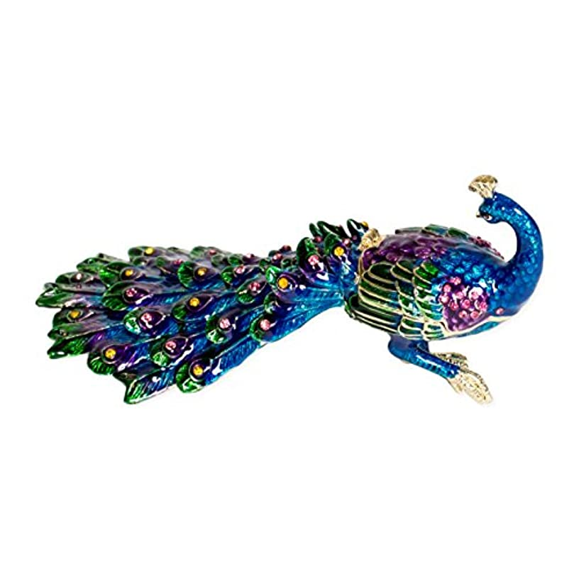 Jeweled Peacock Multi Rhinestone Trinket Box Figurine