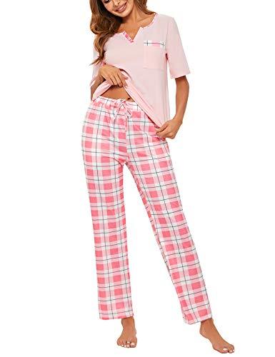 Doaraha Pijama a Cuadros para Mujer Camiseta y Pantalones Pijamas Manga Larga Celosía Ropa de Dormir de Algodón Manga Corta con Cuello de Muesca 2 Piezas (A#1 Rosa (pantalón Largo), 2XL)