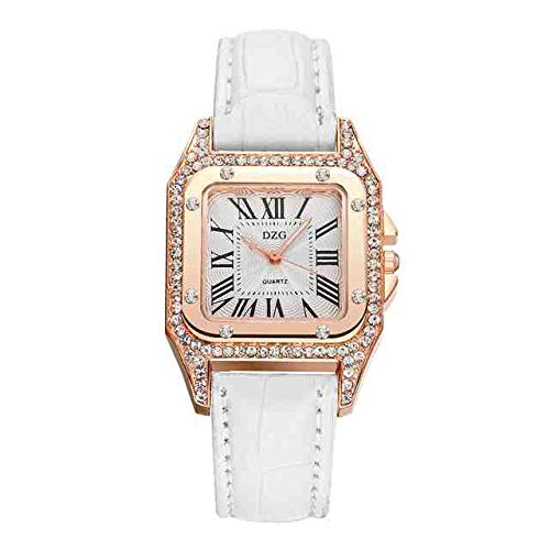 WDQTDY Uhren Damen Kreis Bohrer Quadrat Diamant Zifferblatt Einzigartige römische Ziffern Uhren Mode Retro Frauen Quarz Bajan Kol weiblich B30 Weiß