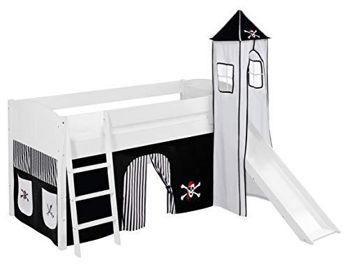 Lilokids Lit surélevé ludique IDA 4106 90x200 cm Pirate Noir Blanc - Lit surélevé évolutif Blanc laqué - avec Tour, Toboggan et Rideaux