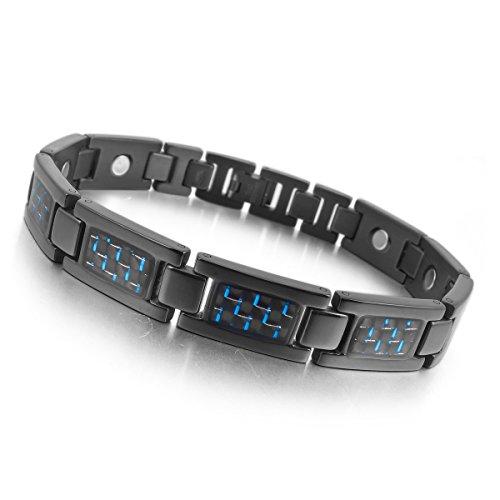MunkiMix 3000g Magnético Bola Bead Acero Inoxidable Fibra Carbono Pulsera Brazalete Eslabones Link Enlace Muñeca Negro Azul Hombre