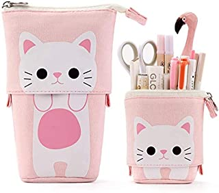 iFeather desk organiser cat pencil case canvas pen holder vertical stationery box student case (pink)
