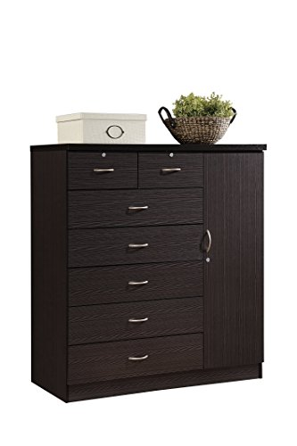Hodedah 7 Drawer Jumbo Chest, Five Large Drawers, Two Smaller Drawers with Two Lock, Hanging Rod, and Three Shelves | Chocolate