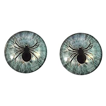 Pale Blue Spider Glass Eyes Horror Art Dolls Taxidermy Sculptures or Jewelry Making Cabochons Crafts Matching Set of 2  16mm