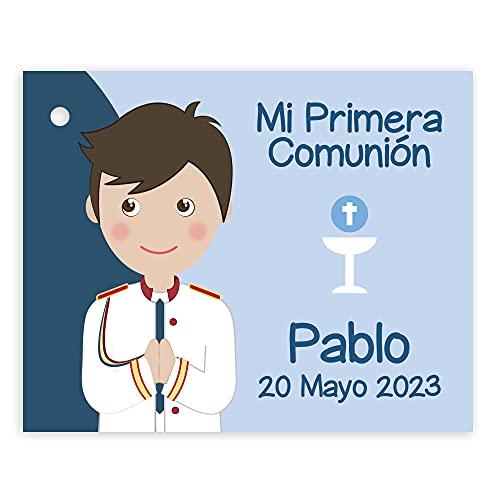 Etiquetas Primera Comunión niño con traje de almirante con detalles en color rojo. Pack 25 udes.