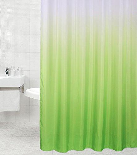 Duschvorhang Magic Grün 180 x 200 cm, hochwertige Qualität, 100prozent Polyester, wasserdicht, Anti-Schimmel-Effekt, inkl. 12 Duschvorhangringe