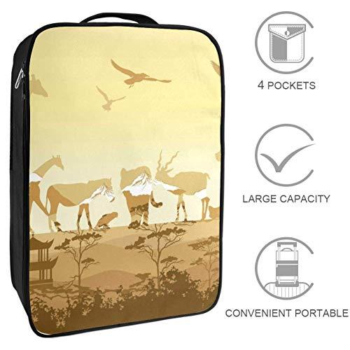 Bennigiry Siluetas de animales salvajes para zapatos de viaje, bolsa de almacenamiento portátil, organizador de zapatos de golf para mujeres y hombres
