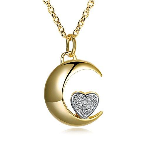 Ecloud Shop Chapado en Oro de Moda Layies Collar Luna con pequeño corazón Plateado corazón Precioso Collar de joyería de Las Mujeres