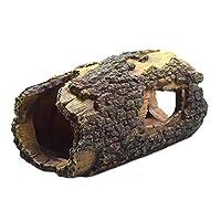 ledmomo 樹脂水族館のトランクの飾りベタの小さなトカゲカメ爬虫類両生類のためのリアルな中空の木のトランクの隠れ家の洞窟