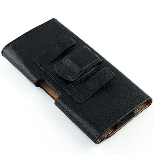 Lederimitat Tasche zum quer am Gürtel tragen für Smartphones (4,5-5 Zoll), Kazam Tornado 348, schwarz