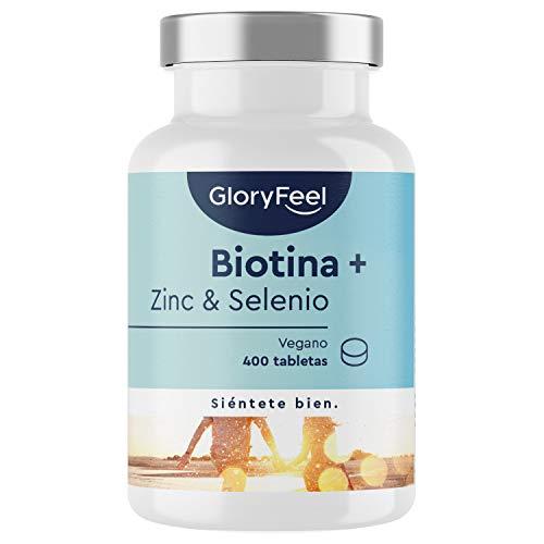GloryFeel Biotina + Zinc + Selenio - 400 Comprimidos Veganos (Suministro para 1+ año) - Apoya el crecimiento del cabello y fortalece la piel y las uñas - Sin aditivos innecesarios